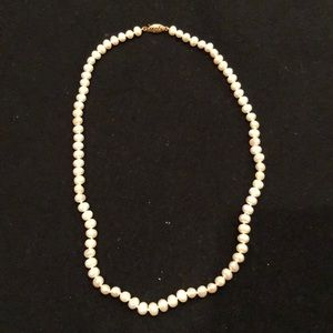 Fresh water necklace 14k gold clasp
